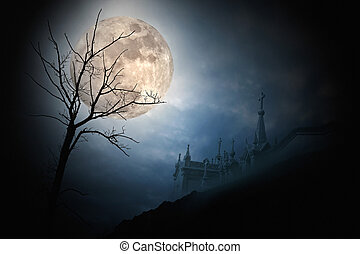 Halloween full moon - Halloween scenery with full moon,...