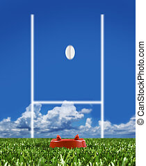 balle, rugby, projection, poteaux, donné coup pied,...