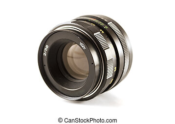 Vintage camera lens - vintage camera lens isolated over...