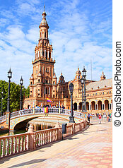 Seville, Spain - Famous Plaza de Espana, Sevilla, Spain. Old...