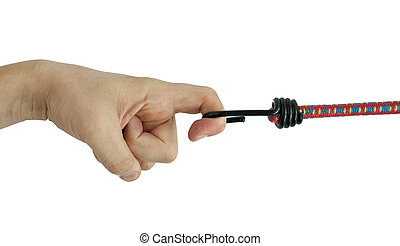 Hand holding elastic rope with hook