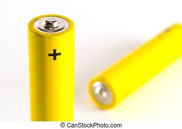 AAA battery - Two yellow AAA alkaline batteries