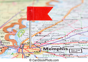 Memphis, TN - Memphis, Tennessee. Red flag pin on an old map...