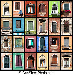 Colorful windows - Windows of Venice, Italy Colorful collage...