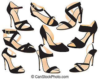 sandals - silhouettes of woman shoes