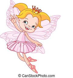 Little  flying fairy - Cute fairy ballerina flying