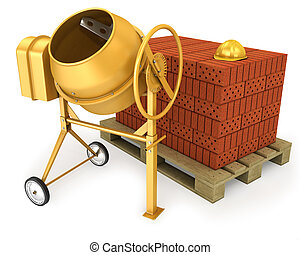 Clean new yellow concrete mixer with helmet and stack of bricks