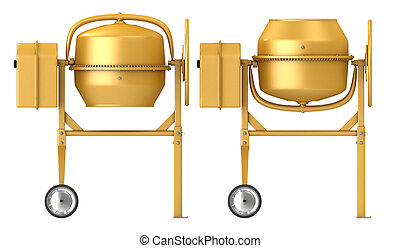 Clean new yellow concrete mixer with raised and lowered drum