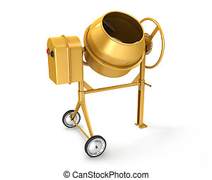 Clean new yellow concrete mixer isolated on white background