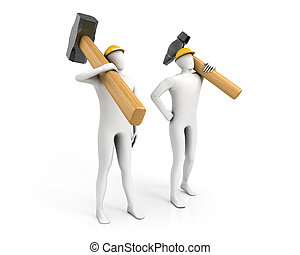 Two men with huge sledgehammer and hammer isolated on white...