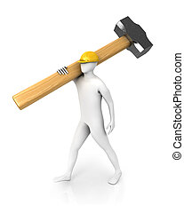 Man with huge sledgehammer isolated on white background