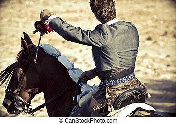 Madrid, españa, -, septiembre, 10:, torero, a caballo,...
