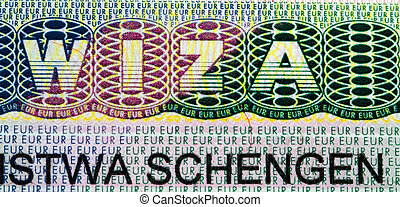 viza schengen (macro) - macro a photo of a part of the visa...