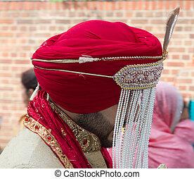 tradicional, sij, novio, boda, turbante