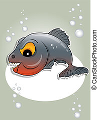 Piranha - Vector picture of gray piranha