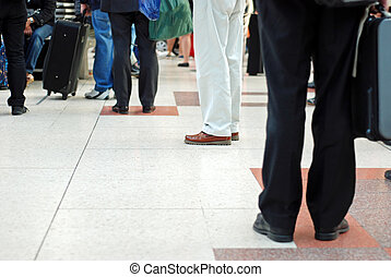 people traveling concept with tile floor