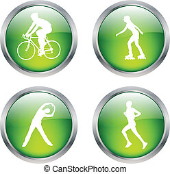 recreation buttons - glossy buttons with recreation symbols...