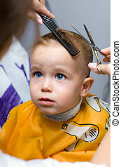 Haircut little gentleman - Haircutting one year old boy in...