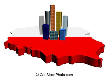 skyscrapers on Poland map flag illustration