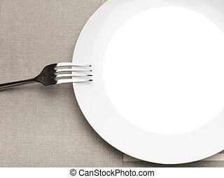 vazio, prato, garfo