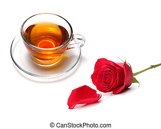 cup of tea with rose