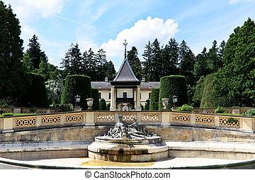 Garden of a villa with fountain
