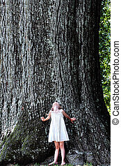 Child Standing Under a Large Tree - Little girl stands at...