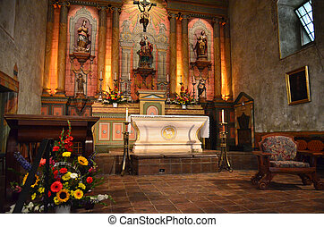 Alter ornation - an alter with ornate decorations at a...