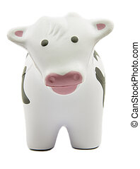A soft toy cow - A soft toy black and white cow looking at...