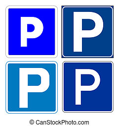 Set of parking signs; isolated on white background.