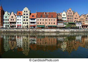 Gdansk, Danzig, Poland shoreline from the 13th century - old...