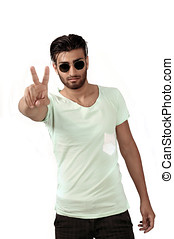 Peace sign by trendy male - Handsome trendy ethnic man in...