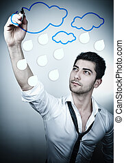 Office Dreaming - Young business man drawing rain clouds on...