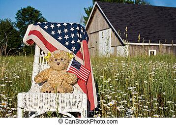 Teddy bear with flags
