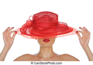 beautiful woman with red hat isolated on white