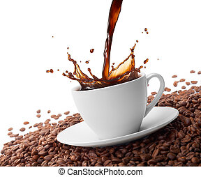 splashing coffee - cup of coffee with splash surrounded by...