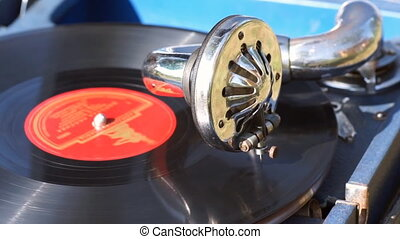 Vintage portable gramophone, common view