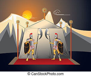 The soldiers guard camp - The soldiers guard the commander...