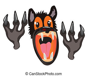 Bared mouth of the wolf on white background - Cruel and...