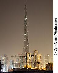 Burj Khalifa at night. Dubai United Arab Emirates