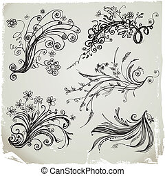 Hand Draw Floral Elements - Set of hand draw floral elements...