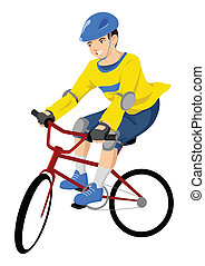 Bicycle - Vector illustration of a boy riding a bicycle