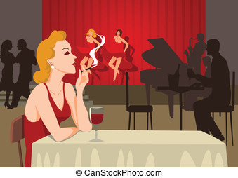 Single Lady - A single lady smoking at sixties nightclub