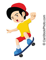 Skateboarding - Cartoon illustration of a kid playing...