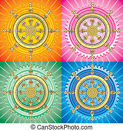 set of dharma wheel - The Dharmacakra symbol is represented...