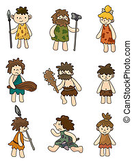 cartoon Caveman icon set,vector
