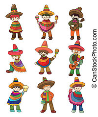 cartoon Mexican people icon set