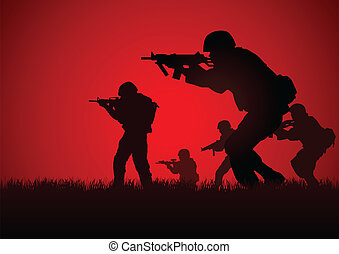Soldiers - Silhouette illustration of a group of soldiers in...