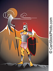 single ancient soldier - Ancient soldier at the montain...