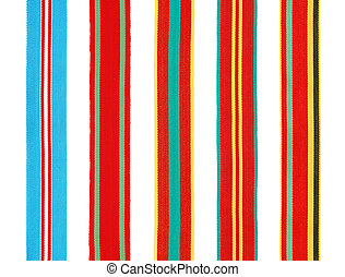 Military ribbons - Set of 5 different military ribbons for...